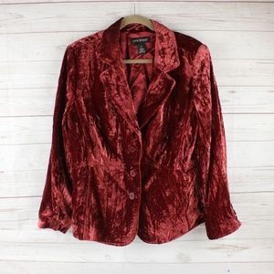Lane Bryant Size 20 Crushed Velvet Blazer Red